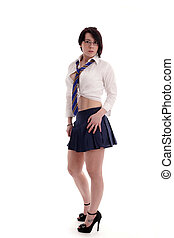 fancy dress schoolgirl - Young woman as a fancy dress...