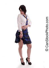 fancy dress schoolgirl - Young woman as a fancy dress...