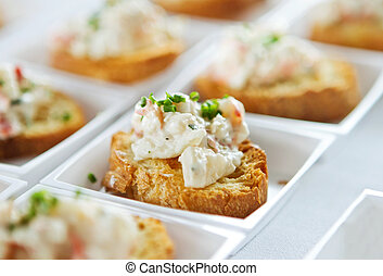 seafood bruschetta - closeup of small seafood bruschetta...