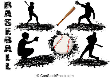 Baseball player silhouettes on white background, vector...