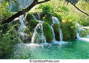 Waterfall in the forest - Waterfall in a forest on the lake