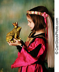 Princess and the frog prince - Portrait of a cute young...