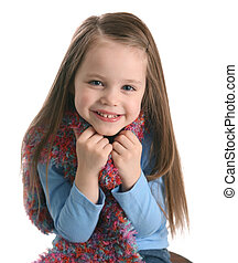 Cute preschool girl wearing a scarf - Portrait of a...