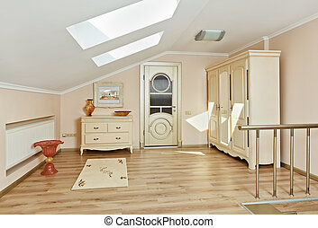 Modern art deco style loft room interior in light beige...