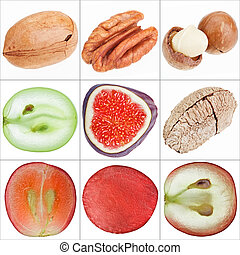 Collage of isolated fruits (nuts, grape, fig), fine macro...