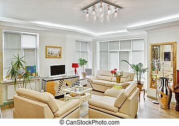 Modern art deco style drawing-room interior with beige...