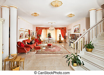 Classic style drawing-room interior in red and golden colors