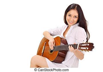 bonito, morena, branca, jovem, chemise, Guitarra, acústico,...