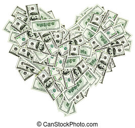 Heart shaped sign made with many 100 dollar banknotes...