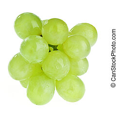 Bunch of white grapes with water drops isolated on white