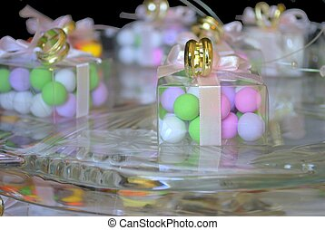 Party Wedding Favors - Wedding party favors placed on a...