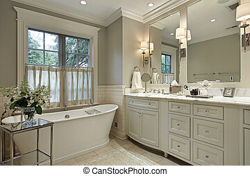 Master bath with marble counter - Master bath in luxury home...
