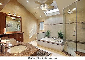 Modern master bath with skylight - Modern master bath with...