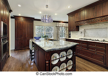 Traditional kitchen with granite island - Traditional...