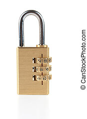 closed code lock - Close-up combination padlock isolated on...