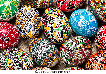 Easter eggs - Set of Easter eggs painted in traditional...