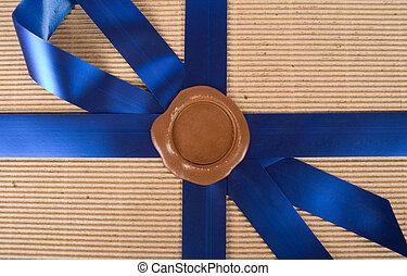 wax seal - Closeup of wax seal at gift box