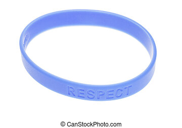 Blue color wrist band - Word Respect on blue color wrist...
