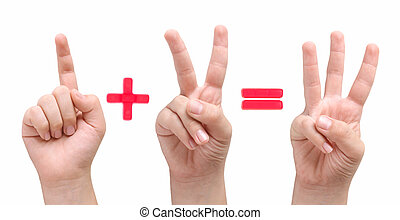 1 + 2 = 3 - Child hands showing one plus two equal three