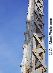 Bridge Girder - Vertical painted and rusted steel bridge...