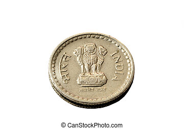 Indian coin - A five rupee coin isolated on a white...