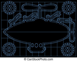 Fantasy Airship Blueprint Gears, Fl - Retro blimp style ship...