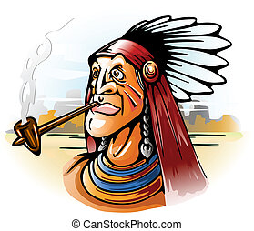 indian chief smoking tube vector illustration
