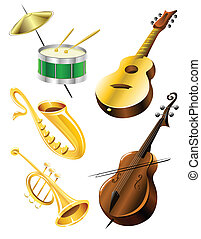 Drum, guitar, tramble, sax, kontrabas music instruments -...