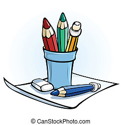 pencil in glass stand on paper vector illustration color