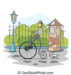 Gentleman drive a retro bicycle by street - vector...