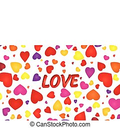 Valentine background with hearts and 3d love word, vector illustration