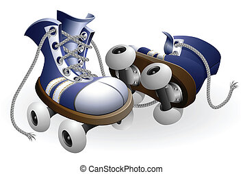 blue roller skates with untied lace vector illustration...