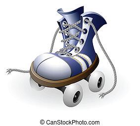 azul, rodillo, patines, desatado, encaje
