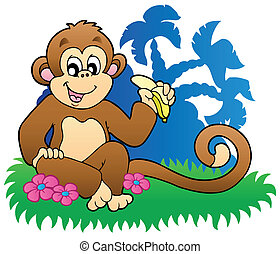 Monkey eating banana near palms - vector illustration.