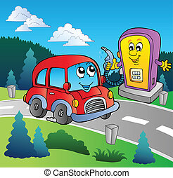 Cute car at cartoon gas station - vector illustration.