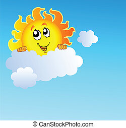 Sun holding cloud on blue sky - vector illustration.