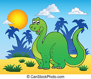 Dinosaur in prehistoric landscape - vector illustration.