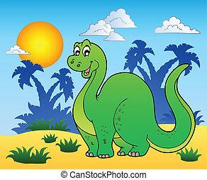 Dinosaur in prehistoric landscape - vector illustration.