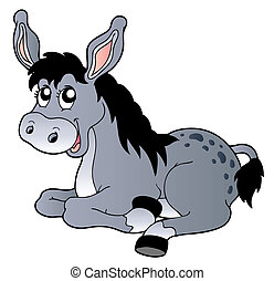 Cartoon lying donkey - vector illustration.