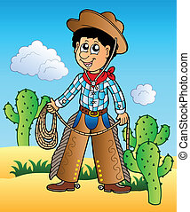 Cartoon cowboy in desert - vector illustration.