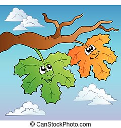 Two cartoon autumn leaves on sky - vector illustration