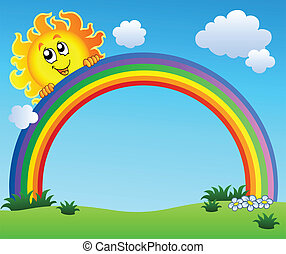 Sun holding rainbow on blue sky - vector illustration
