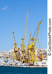 dry dock at Grand harbour - Cranes in dry dock at Grand...