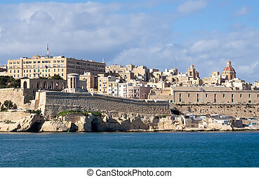 Valletta. Malta - View of Siege Bell Memorial in Valletta....
