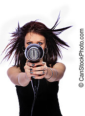 woman with fashion hairstyle holding hairdryer - portrait of...