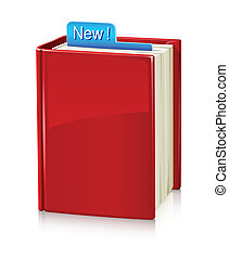 Book_stand_1 - book with red cover and bookmark vector...