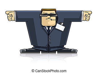 Security_hands - security man in suit and goggles vector...