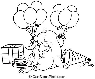 Piglet and Celebration - Black and White Cartoon...