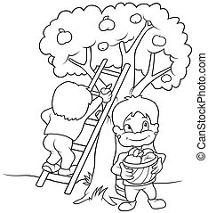 Childrens Harvesting Fruits - Black and White Cartoon...
