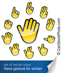 gesture hand for sticker vector illustration isolated on...